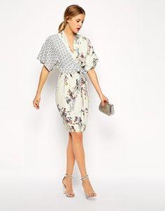 ASOS - Robe fourreau avec haut drapé et imprimé fleurs et oiseaux