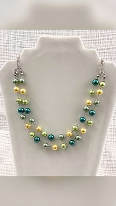 Multi Strand Beaded Yellow and Green Necklace
