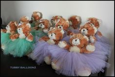 Hand Made Tutu's for Teddy Bears using Lavender and Mint Green Tulle (bows on the head are also hand-made)  www.Tubbyballoonz.com