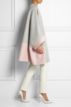 Love the color, the form, and apparent comfort of this coat! Fendi | Two-tone cashmere coat