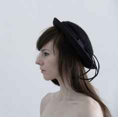 Vintage Brimmed Hat  Black Wool and Feathers by VeraVague on Etsy, $60.00