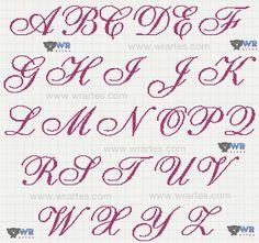 Exibindo grafico alfabeto monograma ponto cruz letra cursiva casamento toalhas…