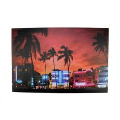 "LED Lighted Famous South Beach Miami Florida Nightlife Scene Canvas Wall Art 15.75"""" x 23.5"""""
