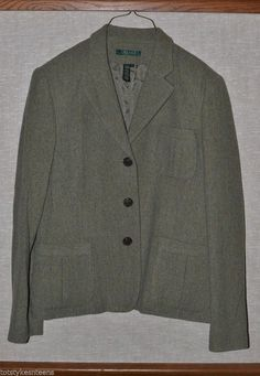 Ralph Lauren Green Wool Blend Tweed Blazer Jacket Pleated Vent Pockets Womens 14 #RalphLauren #Blazer