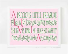 Baptism Gifts, Baby Shower Gifts, Baby Name Poems, Alivia 8x10
