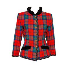 1994s Yves Saint Laurent Collector Red and Green Wool Tartan Jacket | From a collection of rare vintage jackets at https://www.1stdibs.com/fashion/clothing/jackets/