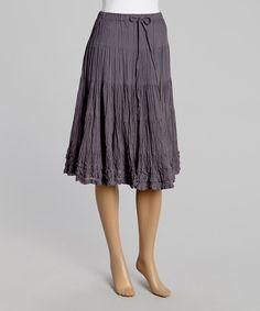 Look at this #zulilyfind! Gray Tiered Midi Skirt by Aryeh #zulilyfinds