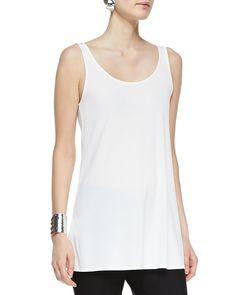 Long Silk Jersey Tunic, Petite, Women's, Size: PP (2/4), Soft White - Eileen Fisher
