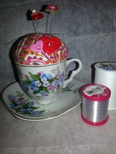 Pincushion in a vintage cup https://www.etsy.com/listing/167917039/pincushion-in-a-lovely-teacup-and-saucer