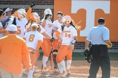 KNOXVILLE, TN - MAY 16, 2014:  Catcher/Infielder Annie Aldrete #24 of the Tennessee Lady Volunteers celebrates her home run during the NCAA Softball Tournament Regional Game between the University of Tennessee Lady Volunteers and the Charleston Southern Buccaneers at Lee Softball Stadium in Knoxville, TN.  Photo By Andrew Bruckse/Tennessee Athletics