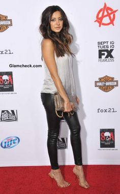 Noureen DeWulf in leather cropped pants