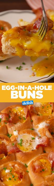 Egg-In-A-Hole Buns are the nicest ones we've ever seen. Get the recipe from Delish.com.