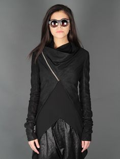 Rick Owens Leather Jacket & Kuboraum Sunglasses    //basically, this whole outfit. want.