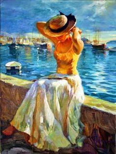 Pintura mulher a beira mar...