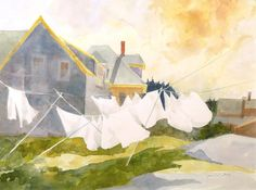 Was Day by Joanne Scott Watercolor Architecture, Watercolor Landscape, Watercolor Paintings, Laundry Lines, Laundry Art, Washing Lines, Monhegan Island, Clothes Lines, Blowin' In The Wind