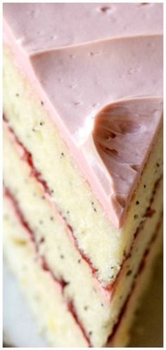 Poppy Seed Raspberry Layer Cake Light and zesty lemon cake freckled with p. -Lemon Poppy Seed Raspberry Layer Cake Light and zesty lemon cake freckled with p. Mini Cakes, Cupcake Cakes, Cake Light, Nake Cake, French Buttercream, Buttercream Cake, Raspberry Cake, Strawberry Cakes, Raspberry Filling