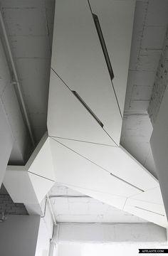 Futuristic interior design in modern apartment Futuristic Interior, Futuristic Design, Futuristic Architecture, Interior Architecture, Interior And Exterior, Interior Design, Plafond Staff, Office Ceiling, Open Ceiling