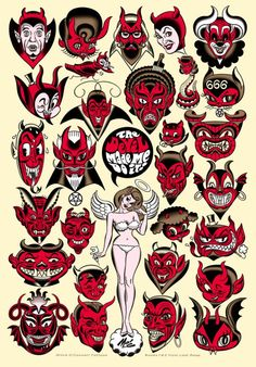 xombiedirge: The Devil Made Me Do It! by Mitch. Tattoo Flash Sheet, Tattoo Flash Art, Arte Horror, Horror Art, Diablo Tattoo, Tattoo Drawings, Art Drawings, Devil Tattoo, Old School Tattoo Designs