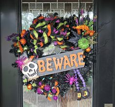 Grab your Halloween Wreath early!   These light up ones go fast!  Spooky BEWARE Light-Up Halloween Wreath Halloween by ATwistDivine