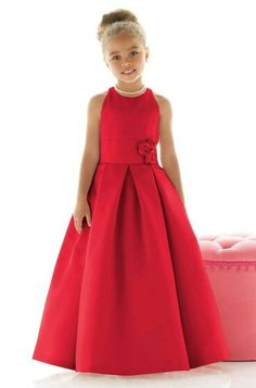 Shop Dessy Flower Girl Dress - in Matte Satin at Weddington Way. Find the perfect made-to-order flower girl dress for the little girl in your wedding. Fashion Kids, Little Girl Fashion, Party Fashion, Little Girl Dresses, Girls Dresses, Red Flower Girl Dresses, Flower Girls, Baby Dress, Dress Up