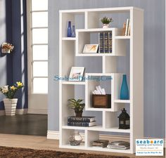 The geometric compartments on this piece create a varied space to display and store items. Two center rectangular compartments attract the eye and are great spots to highlight your favorite decor. This book case offers great storage option for compartmental organization and different size items. The open back is a nice feature to use this shelf as a divider with two-way display. The white finish is casual, fresh and versatile.
