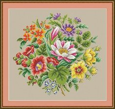 """Original hand-painted embroidery pattern chart made in between 1787 – 1900. Colors are selected from my personal full set of DMC floss to match the existing print colors of the old hand-painted pattern. Pattern information  Fabric – Aida 14 Count Grid Size – 232 w x 219 Design Size – 212 w x 199 h stitches – 15 1/8"""" w x 14 1/8"""" Colors – 40 Threads - DMC PDF Pattern includes:  1. Color picture of design with grid and without grid. 2. Enlarged Chart of the Berlin Woolwork Bouquet 2 in..."""
