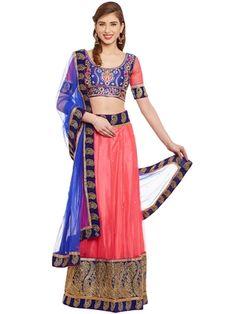 69929846e5 Chhabra 555 pink & blue net embroidered semi stitched lehenga choli with  dupatta