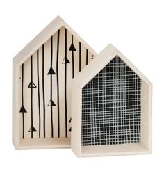 General Eclectic Plywood House Box Set of 2 - Black/White