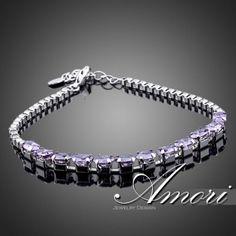 Браслет стиль Tiffany. Kристаллы сваровски цвет Purple Velvet. Браслет застежка карабин и цепочка. Покрытие белое золото.