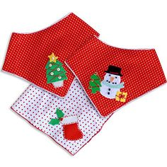 Christmas Holiday Dog Bandanas  Christmas Tree Stocking and Snowman 3 Pack Large * Click on the image for additional details.