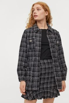 Peplum skirt - Black/Checked - Ladies | H&M GB Hm Outfits, Winter Outfits, Rock, Neue Trends, Peplum, Blouse, Lady, Skirts, Women