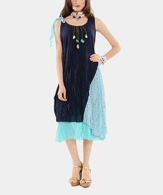 Look at this #zulilyfind! Navy & Turquoise Tie-Waist Dress by EVVEL  #zulilyfinds