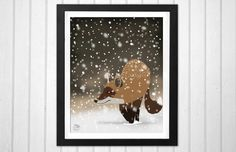 Sneaky smart fox snowy winter forest art home decor print  INSTANT DOWNLOAD - pinned by pin4etsy.com