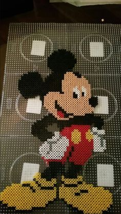 Mickey Mouse perler beads by Alexandre Lehmann Hama Beads Disney, Diy Perler Beads, Perler Bead Art, Pearler Bead Patterns, Seed Bead Patterns, Perler Patterns, Disney Micky Maus, Pearl Beads Pattern, Disney Cross Stitch Patterns