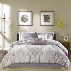 Update your space with the soft look of Madison Park Morena. The tonal purple and greys in this updated paisley design provide a cozy getaway in your space. Printed on 200 thread count cotton.