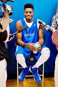 Nerlens Noel talking to the media before beginning of Big Blue Madness. Wildcats Basketball, Kentucky Basketball, Basketball Uniforms, College Basketball, Basketball Players, Basketball Shoes, Kentucky Wildcats, Basketball Schedule