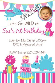 Pink Dinosaur Babies Birthday Invitations - Digital Download  - Get these invitations RIGHT NOW. Design yourself online, download and print IMMEDIATELY! Or choose my printing services. No software download is required. Free to try!