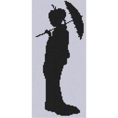 0 point de croix silhouette geisha ombrelle - cross stitch silhouette geisha parasol