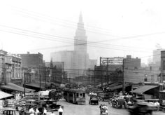The central and busy Haymarket area along Ontario Ave., ca 1930, in Cleveland, Ohio. The facilities for the Gateway sports complex now occupy much of this site.