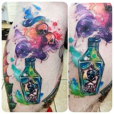 "763 Me gusta, 20 comentarios - Joanne Baker (@milky_tattoodles) en Instagram: ""A poison bottle on the awesome @eddybom8. It was such a fun tattoo to do and an honor you have…"""