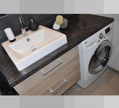 washing machine in bathroom ,Bathroom Laundry Room Combination .Salle de bain * machine a laver