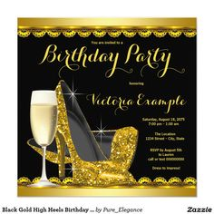 Black Gold High Heels Birthday Party Card