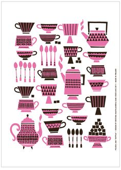 Another bright tea towel to brighten up your kitchen, this Kuppila tea towel is designed by Polkka Jam. Polkka Jam is the work of a Finnish duo and this Tee Kunst, Tea Art, Kitchen Art, Graphic Illustration, Illustration Styles, Surface Design, Tea Towels, Design Art, Graphic Design
