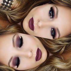 Burgundy lippie and shadow