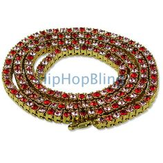 Rose Red & Pink Stones Gold 1 Row Bling Bling Necklace Clearance Hip Hop Chains