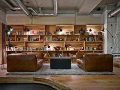 The Hostel Berlin Mitte with a library lounge that is  fresh and bright with two enormous leather sofas and cool industrial lamps.