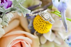 Wedding ring on her bouquet!