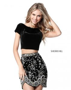 Sherri Hill 51493 Short Sleeve 2pc Cocktail Dress with Beading