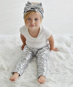TLove this Silver Sequin Leggings on #zulily!