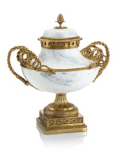 RA-8944  19H X 17W X 14D White crackle porcelain tureen with curled omolu finished arms and accents.